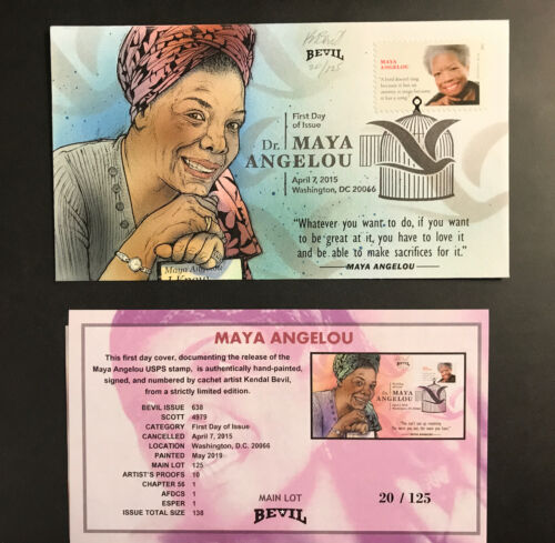 Maya Angelou First Day Cover Hand Painted - $12.00