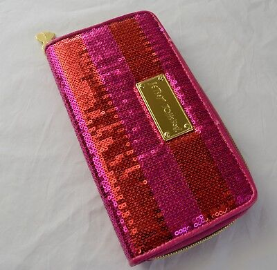 - Betsey Johnson Hot Pink Sequin Strip Zip Around Wallet in Gift Box