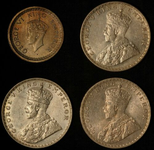 Indian Silver Variety Lot - One Rupee 1918 x 1 & 1919 x 2 & 1945 1/2 Rupee x 1