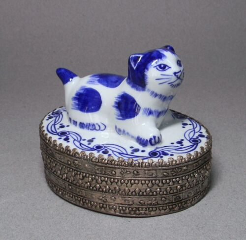 Metal Trinket Box w/ Chinese Blue & White Pottery Cat Lid