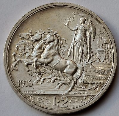 Italy 2 Lire, 1916, Quadriga, Vittorio Emanuele III, Silver coin