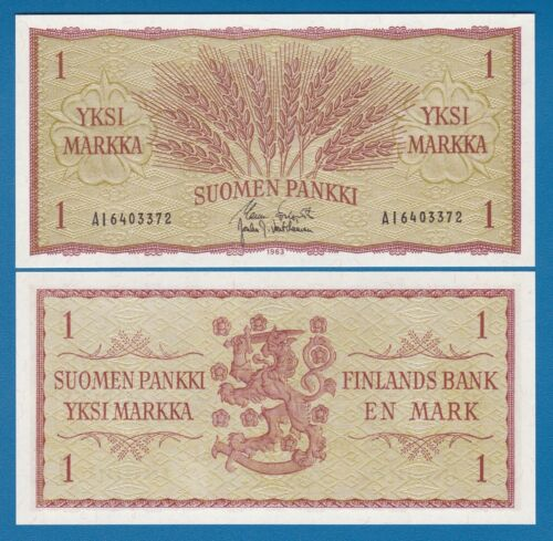 Finland 1 Markka P 98 a 1963 UNC Low Shipping! Combine FREE 98a