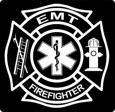 Fire Fighter EMS/EMT Maltese Cross Vinyl Decal Sticker Car Truck Window