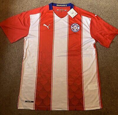 Puma 2021 Paraguay Home Soccer Jersey XXL Futbol Camiseta Red White Stripe NWT image
