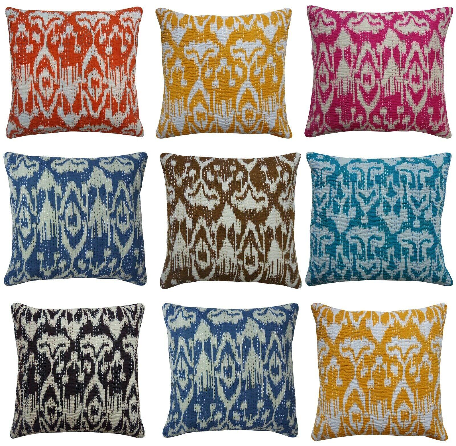 indian kantha stitch cushion cover ikat pattern