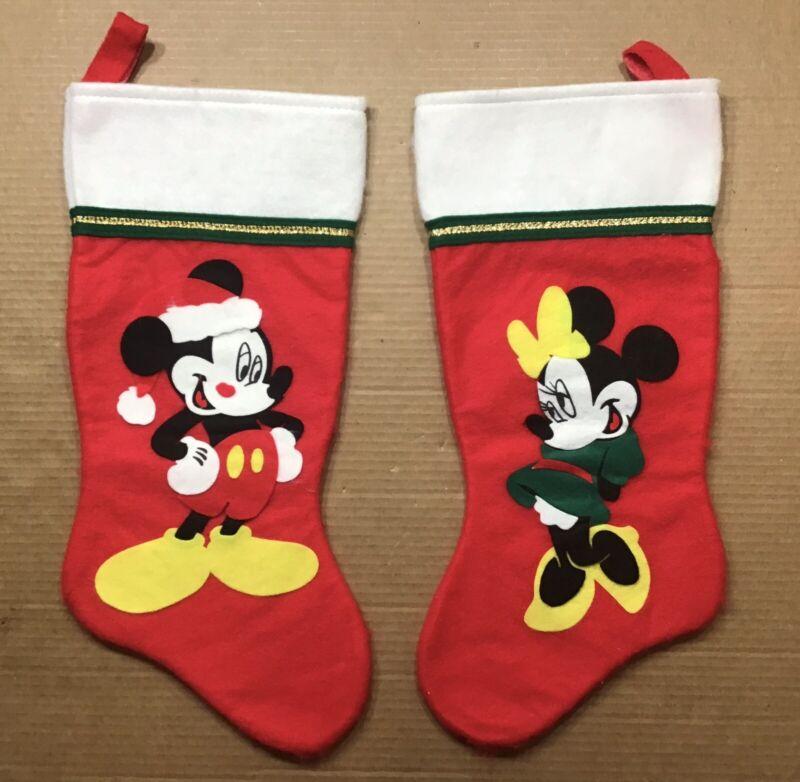 "Vintage Disney Mickey and Minnie Mouse Felt Christmas Stocking Set ~ 18"" Long"
