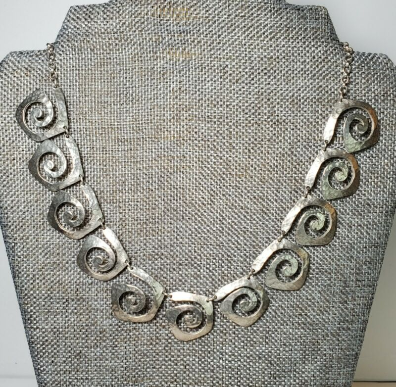 Vintage Sterling Silver Necklace Designer TEZ Mexico Modernist Geometric