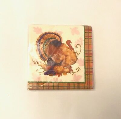 Thanksgiving Lunch Dinner Paper Napkins Fall Harvest Turkey Plaid 20 - Plaid Paper Napkins