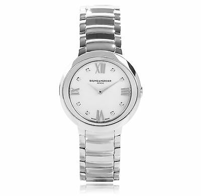 Baume And Mercier Promesse Diamond Dial Stainless Steel Ladies Watch MOA10178