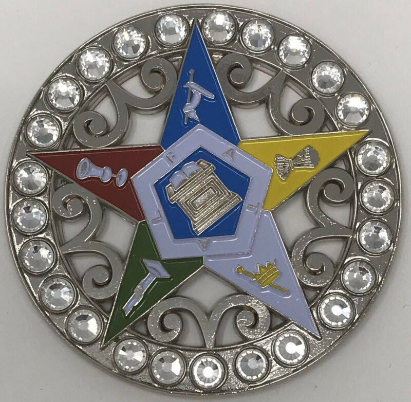 New Order of Eastern Star OES Car Emblem Silver with Jewels