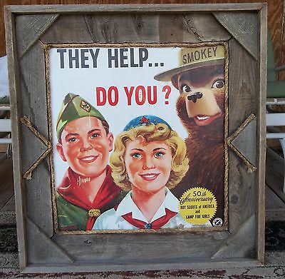 """Boy Scouts Sign Poster Camp Fire Girls 50th Anniversary Smokey Bear 1960 29"""""""