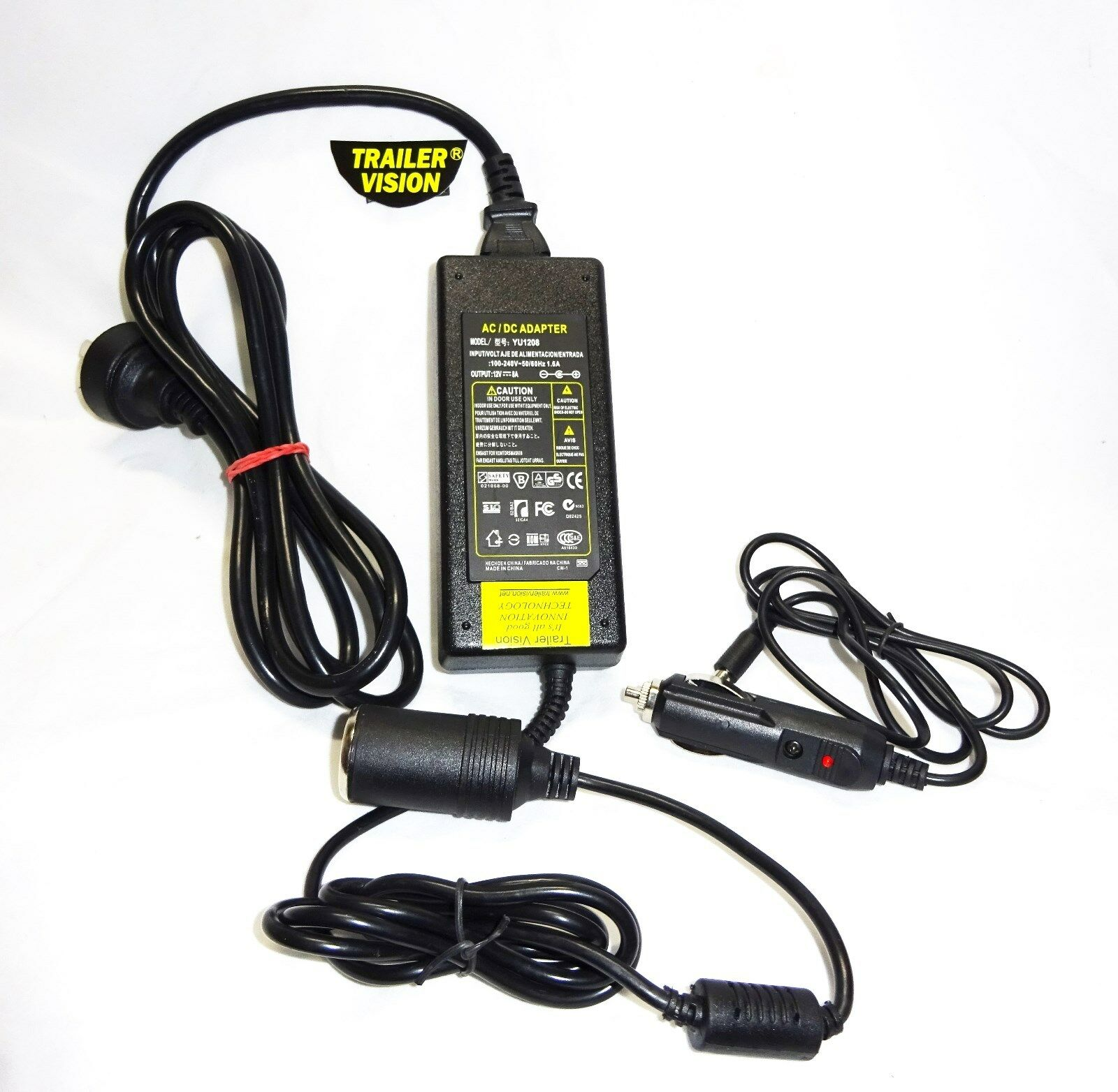 12 VOLT 8 AMP AC/DC REGULATED POWER SUPPLY CIG /ADAPTOR