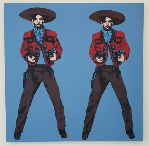 Big Mexican silkscreen POP Art Andy Warhol Tribute 57x50 blue Jorge Negrete 5/10