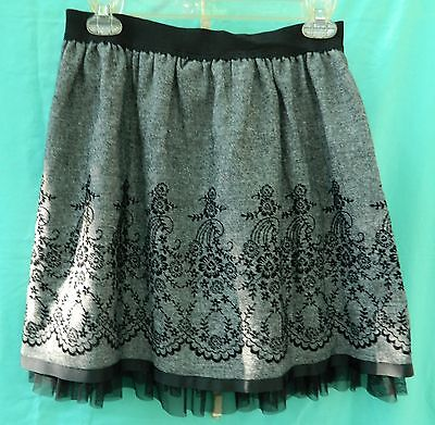 JoeBenBassett Black & Gray Tweed Skirt w/Embroidery & Tulle Underlay Size L (Gray Tulle)