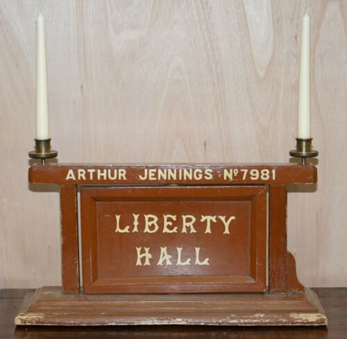 VINTAGE MASONIC LODGE ROTATING SIGN LIBERTY HALL STRICT ORDER CANDLE HOLDERS
