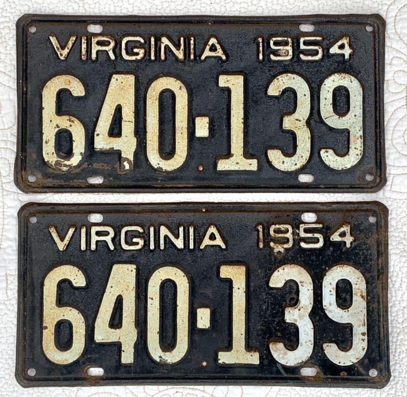 VINTAGE PAIR 1954 54 VIRGINIA VA LICENSE PLATES # 640-139, BLACK