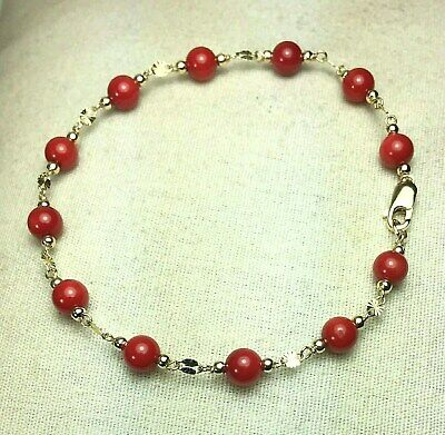 14k solid yellow gold 5mm round ball natural Red Coral bracelet 6 1/2 inches