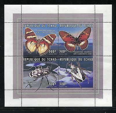 CHAD 681 AD SHEET, MNH, $6.00. BUTTERFLIES & INSECTS, 1996. X24060