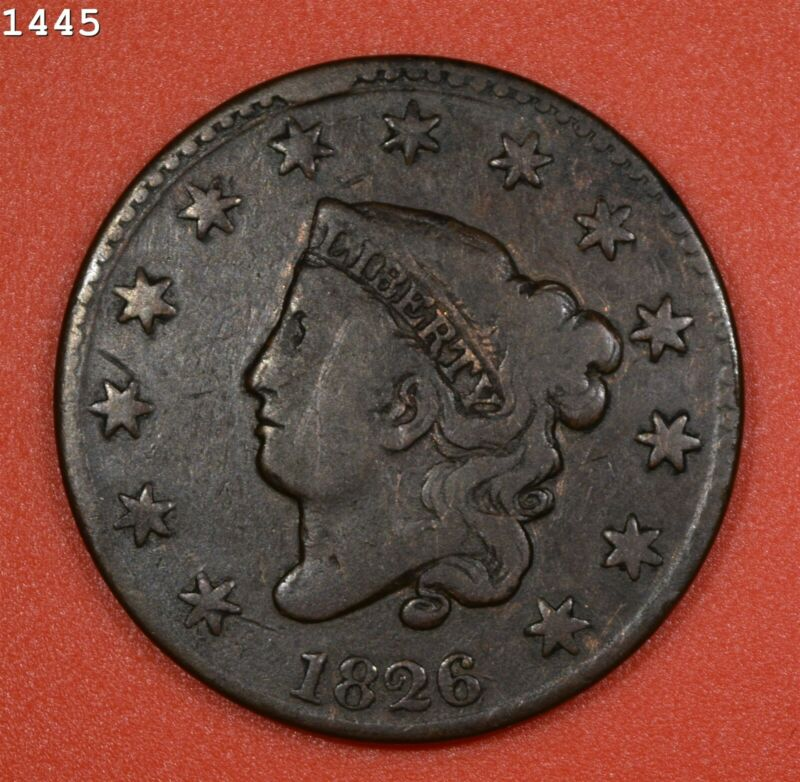 """1826 Coronet Head Large Cent """"VG/F"""" *Free S/H After 1st Item*"""