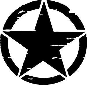 Jeep US Army Military Distressed Star Sticker - black matt 200mm x 200mm
