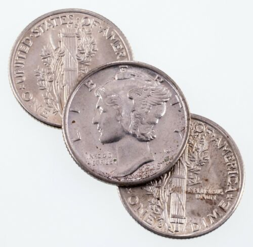 Lot of 3 Mercury Dimes (1939 P, D, and S) in Choice BU Condition, Full Luster