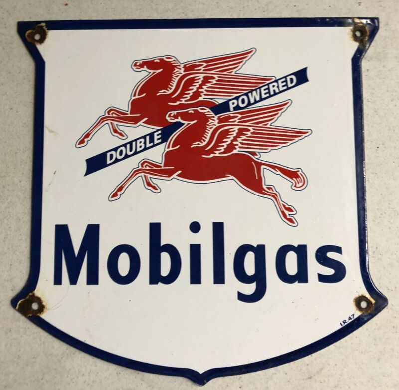 """VINTAGE 12"""" DATED 1947 MOBILGAS PORCELAIN SIGN GAS OIL"""