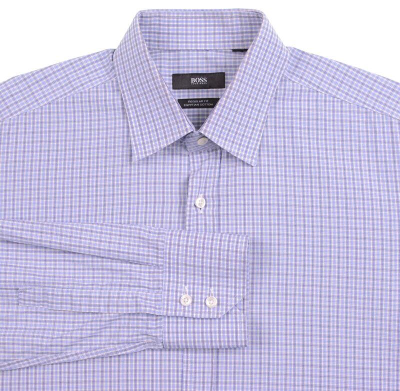 7b7f2482a RECENT Hugo Boss 'Felix' Blue Plaid Check Egyptian Cotton Dress Shirt 15.5