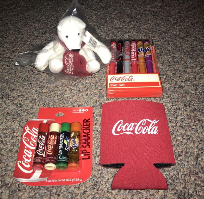 "Coca-Cola Lot - Plush Bear 4"" Chapstick Ballpoint Pen Koozie Set New & Rare"