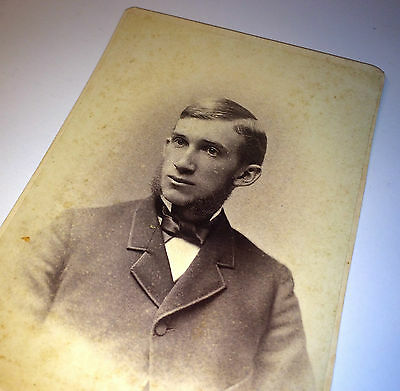 Antique Young Gentleman W/ Large Mutton Chop Facial Hair Sideburns Cabinet Photo - Mutton Chop Sideburns