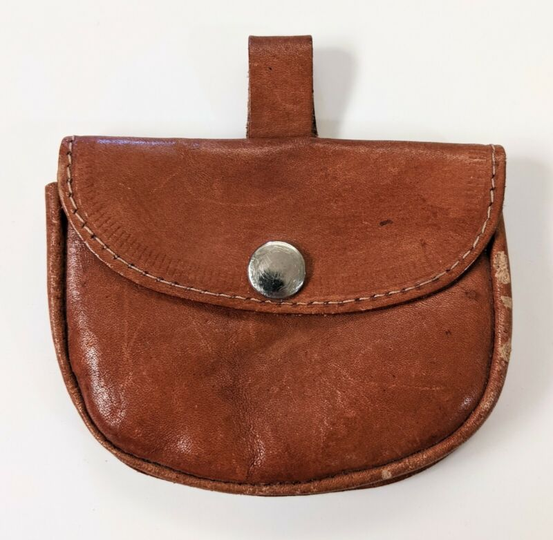 """Vintage Leather Pouch Purse For Thin Belt, Snap Shut ~4"""" Wide"""