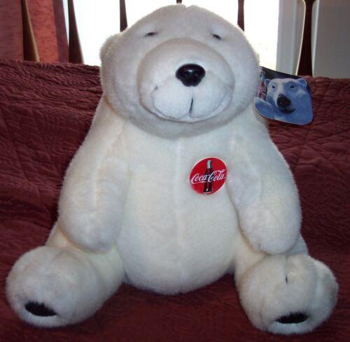 Vintage COCA COLA POLAR TEDDY BEAR with PLASTIC COKE BUTTON Plush 1993 Large tag