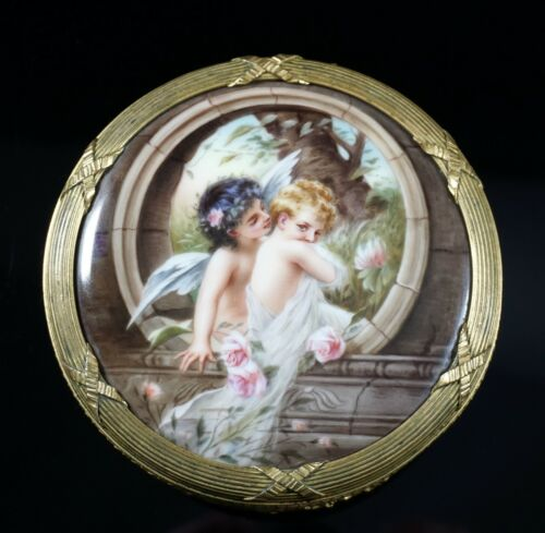 Gorgeous Hand Painted Porcelain Plaque Mounted in Round Ormolu Box