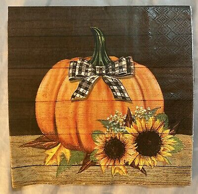 TWO Individual Paper Luncheon Decoupage Fall Pumpkin Napkins PLAID