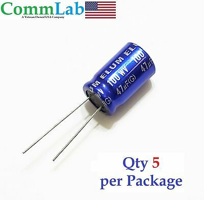 47uf 100v Non-polarized Electrolytic Radial Lead Capacitor Qty 5 Np Bp