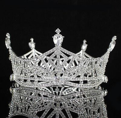 Miss America Crown Clear Austrian Rhinestone Hair Tiara Pageant T1299 silver