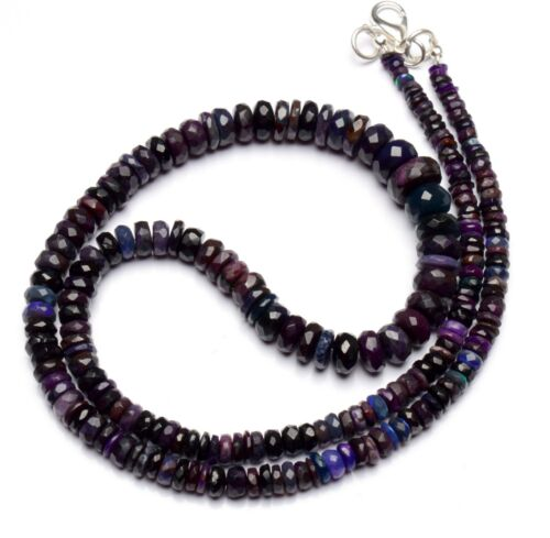 """Natural Gem Sugilite 4 to 9mm Size Faceted Rondelle Beads Necklace 18.5"""""""