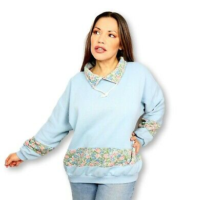 80s Sweatshirts, Sweaters, Vests | Women Pastel Blue Floral Vintage 80s 90s Sweater Jumper Cottage Core Country Kitsch   $33.41 AT vintagedancer.com