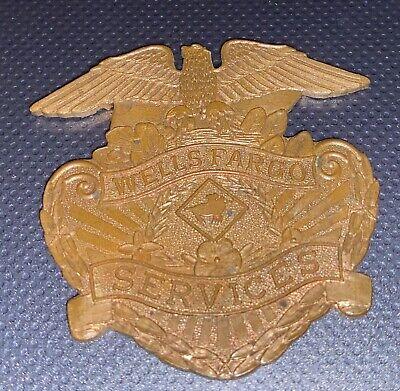 """Vintage Wells Fargo Services Brass Plaque. 2 1/2"""" X 2 1/2""""."""
