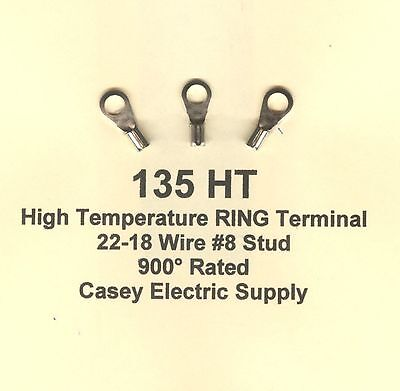 50 High Temperature Ring Terminal Connectors 22-18 Wire Awg 8 Stud 900 Molex