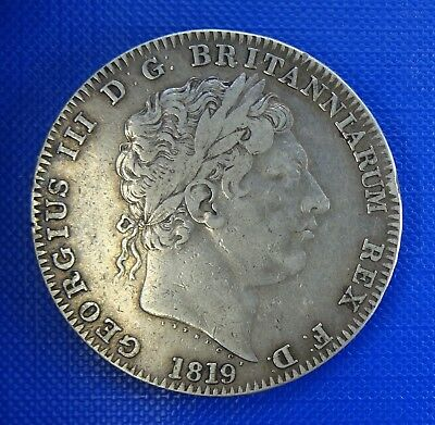 George iii, Full Crown, 1819, LIX - Lightly toned with some Lustre