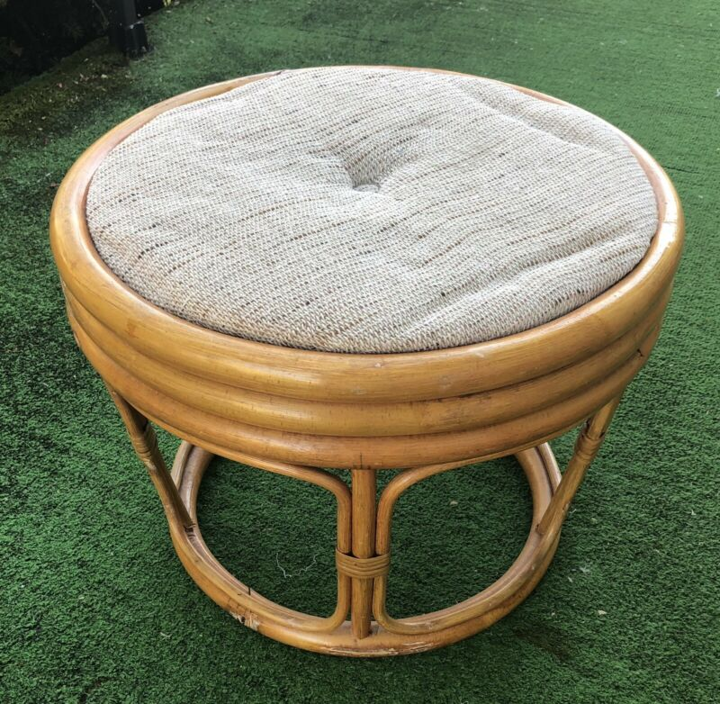 Vintage Round Tapered Rattan Bamboo Ottoman Footstool with Cushion Hollywood