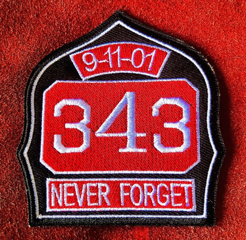 9 11 01 REMEMBER 343 FIREFIGHTERS PATCH IRON ON BADGE JACKET VEST SEPT 11 🇺🇸