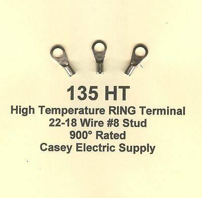 100 High Temperature Ring Terminal Connectors 22-18 Wire Awg 8 Stud 900 Molex