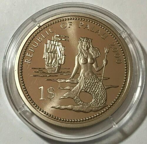 2000 Palau 1 dollar, Lion fish, Mermaid, wildlife, animal, BU coin