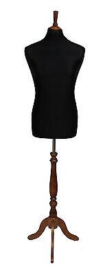 De Lujo Masculino Maniquí Sastre Costura Pantalla Torso Negro Busto Rosa Soporte