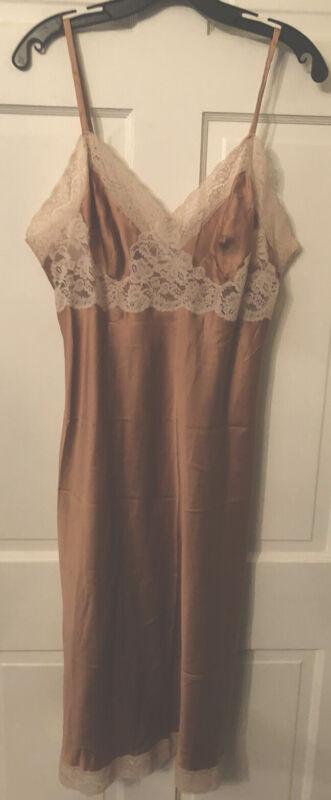 Vintage Christian Dior nude satin slip with beige lace trim size 38