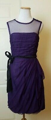 White by Vera Wang Bobbin Mesh Net Dress Size 8 Purple Womens Formal Cocktail