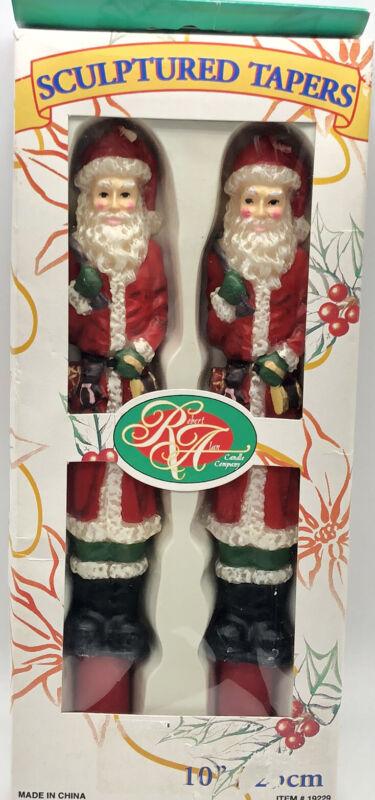 """ROBERT ALAN Set of 2 - 10"""" Candles SCULPTURED Tapers SANTA CLAUS CHRISTMAS Decor"""