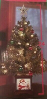 """NEW 2 FT PRE-LIT Tabletop Christmas Tree /Lighted Base/4""""Topper/15 Clear Lights"""