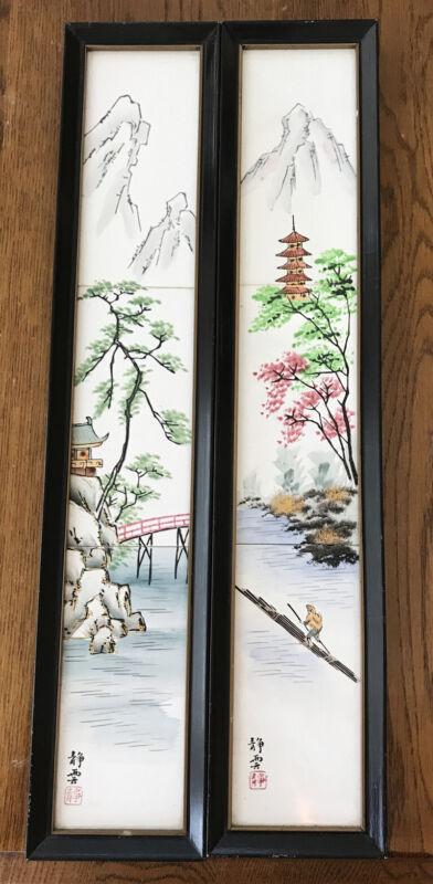 Hand Painted Japanese Tiles Framed Season Art patent NO 492647